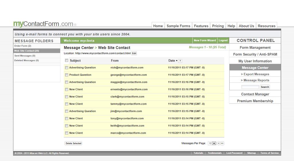 Message Center Preview - myContactForm.com